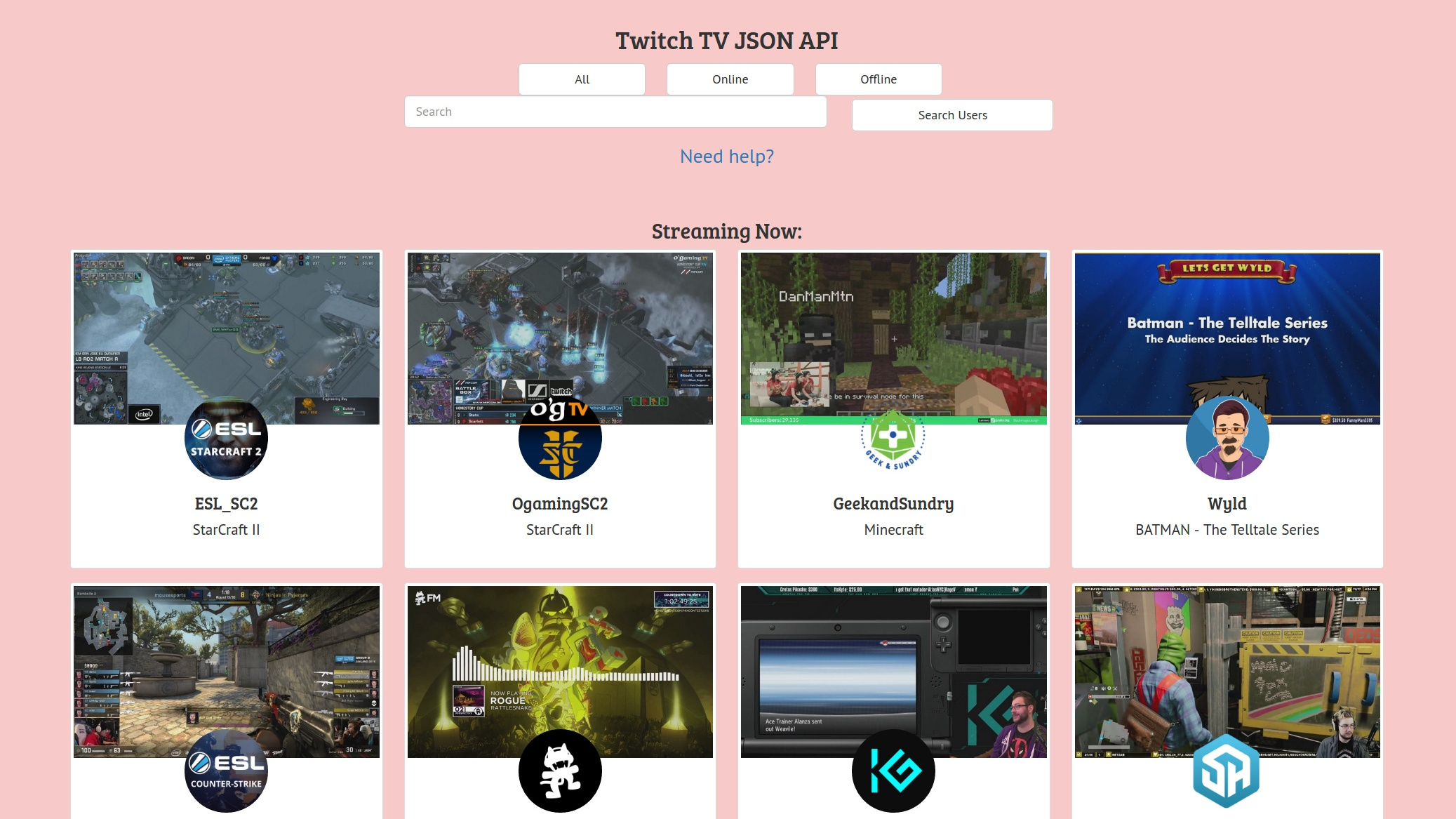 """[""""Twitch TV JSON API""""]"""