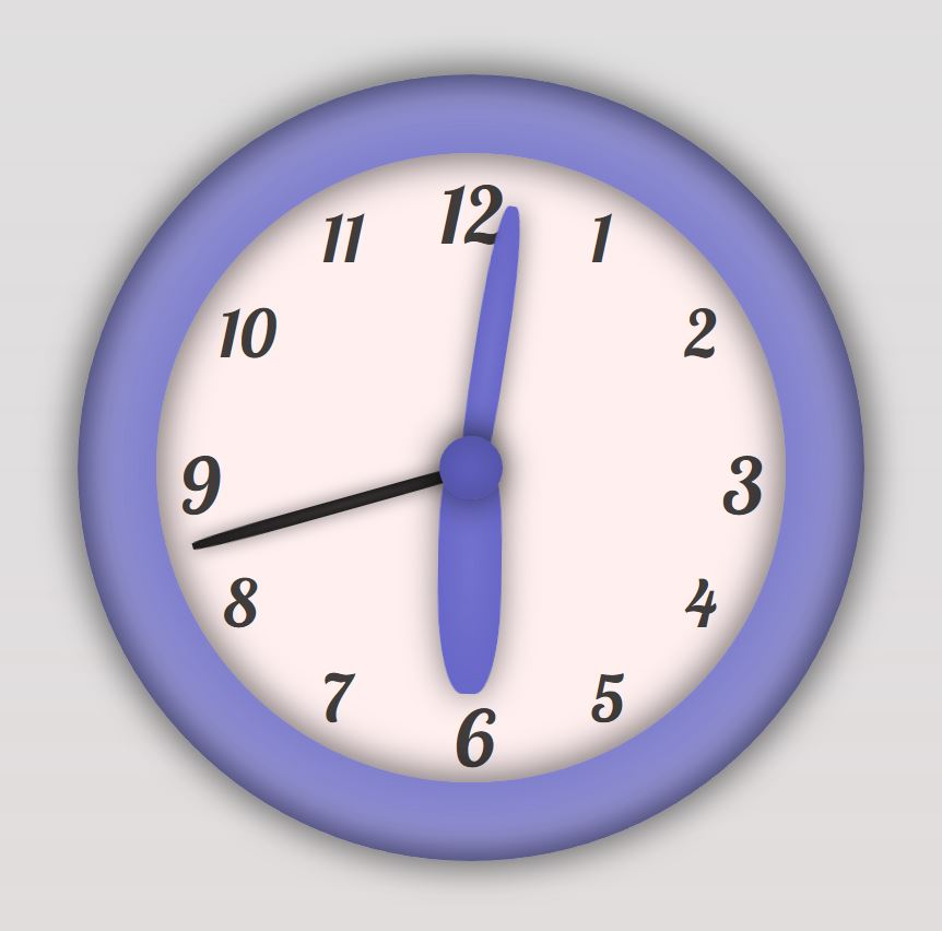 Animated Wall Clock CSS Vector Graphic Screenshot
